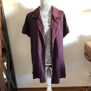ST. JOHN Collection Cardigan Sweater Purple Maroon